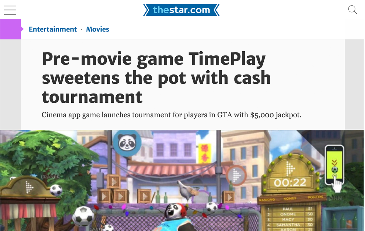 The Toronto Star features TimePlay Tournament - TimePlay